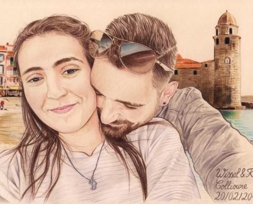 Portrait dessin d'un jeune couple se prenant en selfie devant la mer