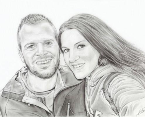 Portrait dessin d'un jeune couple souriant en noir et blanc