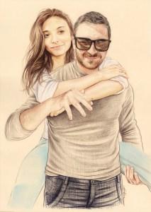 Portrait dessin d'un jeune homme portant sa copine
