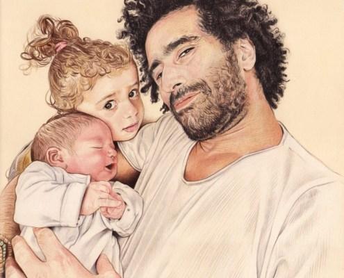 Portrait dessin d'un papa avec ses deux enfants en couleur