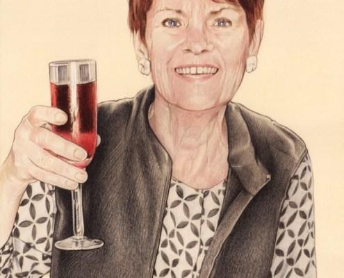 Portrait dessin d'une femme portant un toast