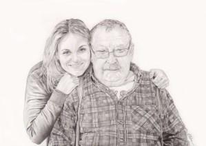Portrait dessin d'une jeune femme posant avec son grand-père
