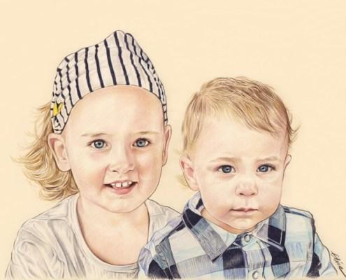 Portrait dessin en couleur de deux frère et sœur