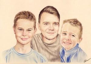 Portrait dessin en couleur de trois frères