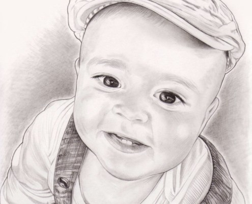 Portrait dessin en noir et blanc d'un petit garçon avec un béret