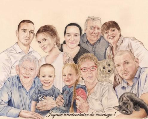 Portrait dessin familial pour un anniversaire de mariage