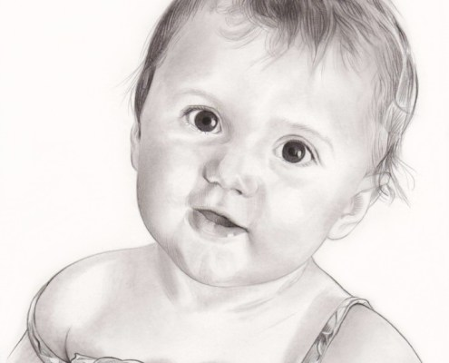 Portrait dessin d'une fillette en robe noir et blanc