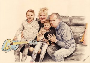 Portrait dessin de grands-parents avec leurs deux petits-enfants
