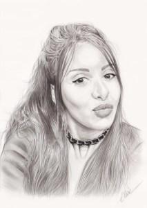 Portrait dessin d'une jeune femme aux cheveux longs en noir et blanc
