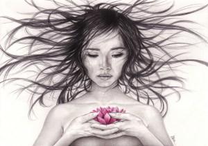 Jeune fille à la fleur de lotus