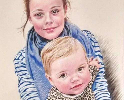 Portrait dessin d'après photo de petites filles