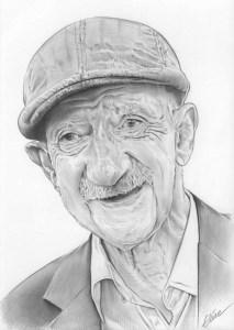 Portrait dessin d'un vieil homme avec un béret