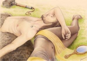 Portrait dessin d'un couple habillé en Thor et Oshun