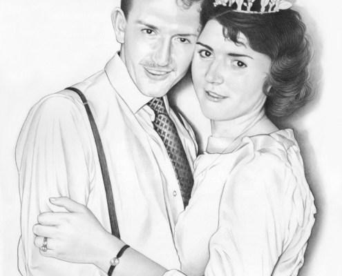 Portrait dessin d'après une ancienne photo de mariage