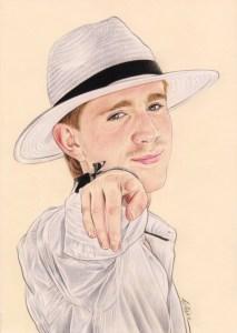 Portrait dessin d'un jeune homme avec un chapeau
