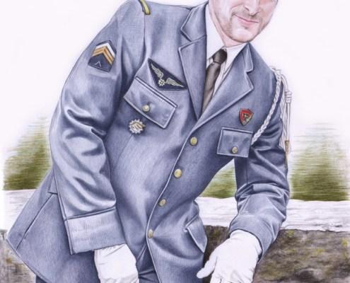 Portrait dessin d'un jeune homme en uniforme de l'armée de l'air