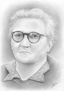 Portrait dessin d'une ancêtre d'après photo ancienne