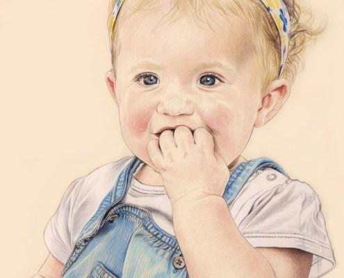 Portrait dessin d'une petite fille en salopette