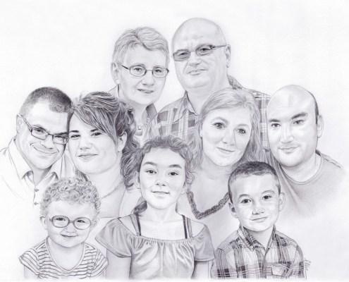 Portrait dessin familial en noir et blanc