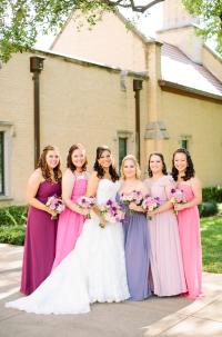 Mismatched Pink and purple bridesmaids dresses