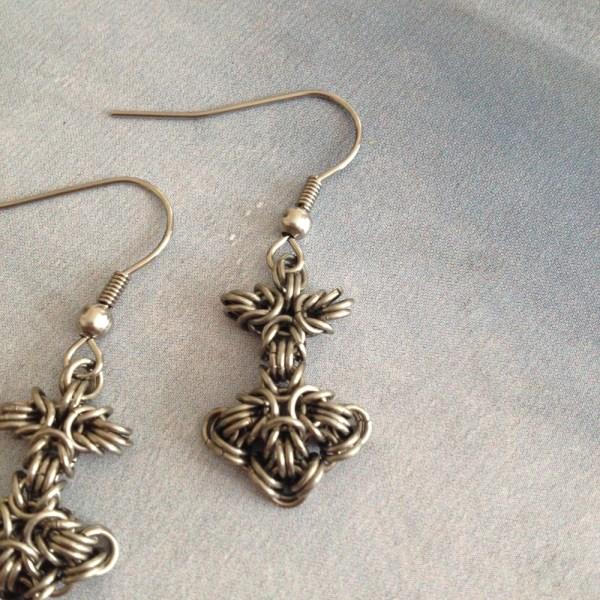 Mjolnir Chainmaille Earrings