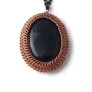 Wrapped Goldstone Chainmaille Pendant by Destai