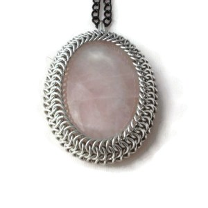Chainmaille Wrapped Rose Quartz Pendant by Destai