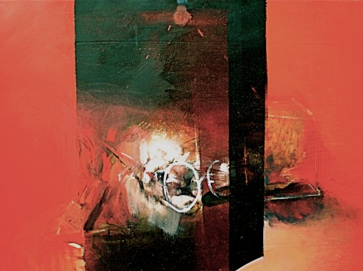Self portrait, mirror and rock in image titled Momento Mori 2 by Elaine d'Esterre from artwork titled Eye and Site 2