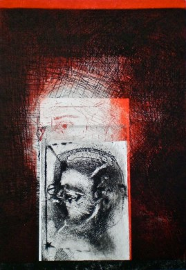 Etching consisting of 2 Plates titled, Above the Window, 1/1, 2009, 26x18 cm print, 50x35 cm paper, intaglio and drypoint.