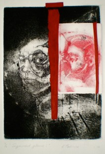 Etching consisting of 2 Plates titled, Segmented Glance 1, 1/1, 2010, 26x18 cm print, 50x35 cm paper, intaglio, drypoint and chine-colle.