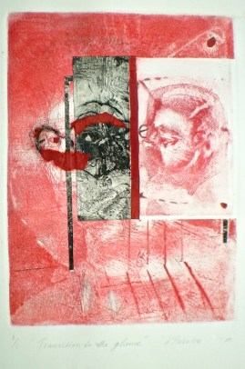 Transition to the Glance, 1/1, 2010, 25x18 cm print, 50x30 cm paper, intaglio and collage.