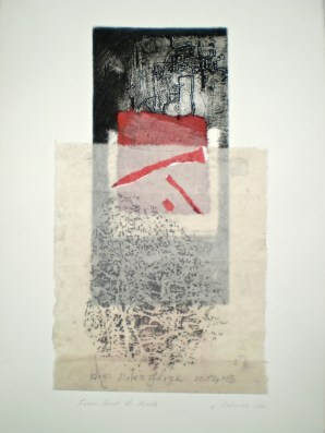From Rust to Rock 2014, 39x19 cm print, 50x35 cm paper, intaglio, frottage and collage