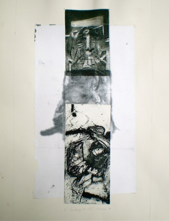 Touching Sand 2, 2010, intaglio and chine-colle 37x19 cm print, 50x35 cm paper