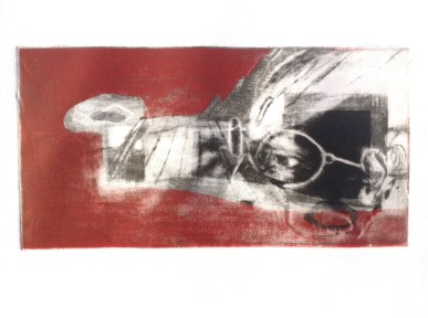 """A Search for """"The Golden Spike"""", 2014, intaglio, 12x22 cm print, 30x40 cm paper"""