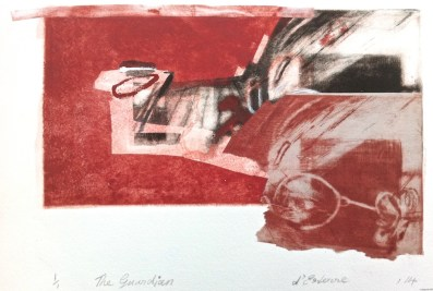 The Guardian, 2014, intaglio and collage, 25x18 cm print, 30x40 cm paper BFK Rives
