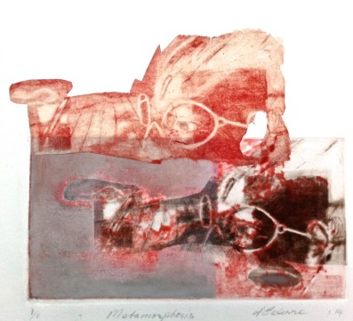 Metamorphosis, 2014, intaglio and chine-colle on BFK Rives 25x27 cm print, 38x38 cm paper. SOLD