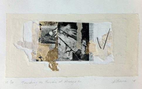 Touching the Terrain at Mungo 2, 7/8, V.E. 2015, etching collage, 14x27 print, 20x30 paper