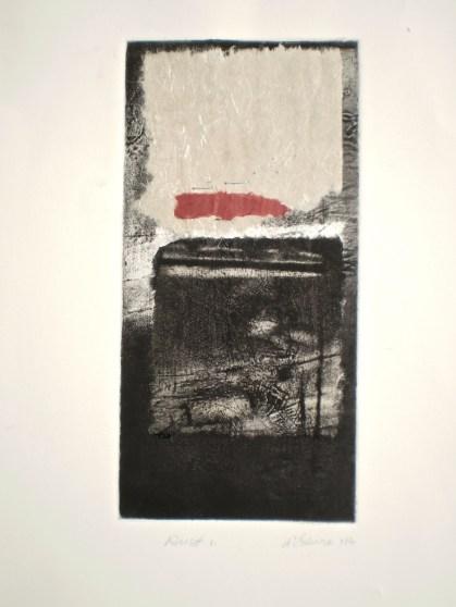 Rust 1, 2014, intaglio, collage and staples.