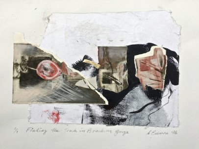 Finding the Track in Brachina Gorge, 2016, etching collage on BFK Rives 300 gsm, 30x42 cm