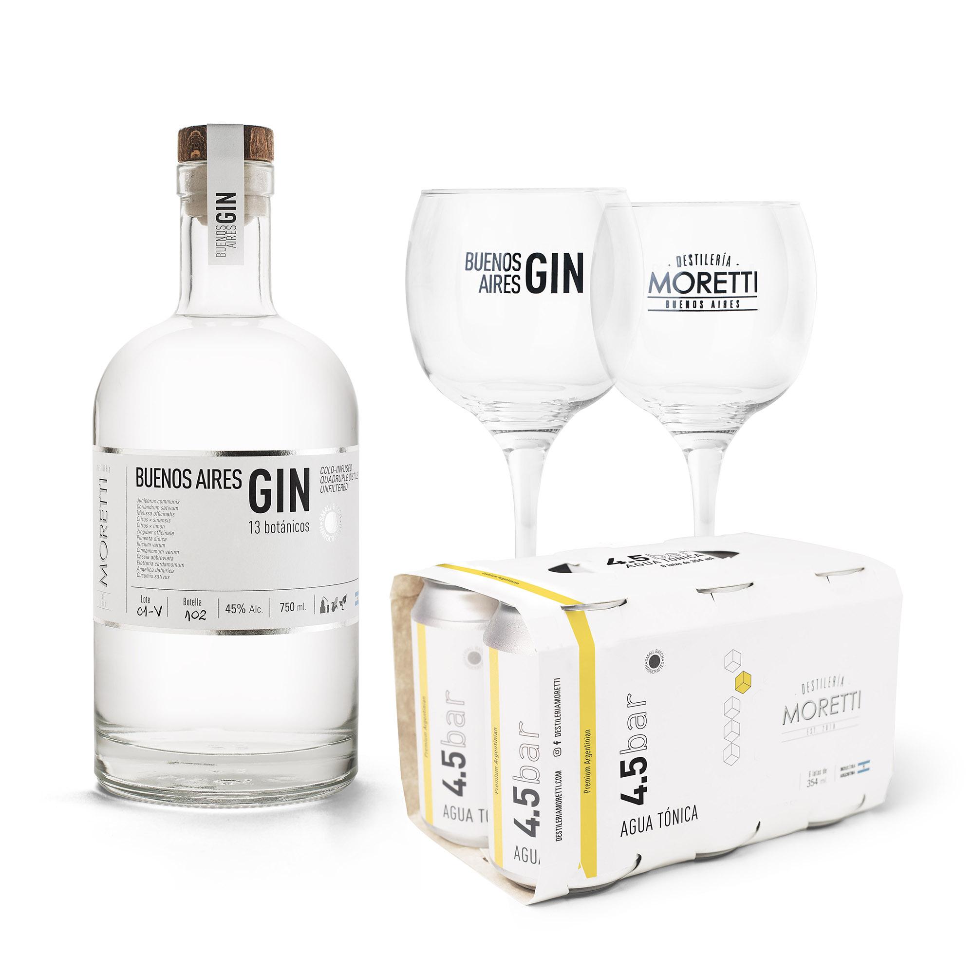 Buenos Aires Gin + Six Pack 4.5BAR Agua Tónica + 2 Copones