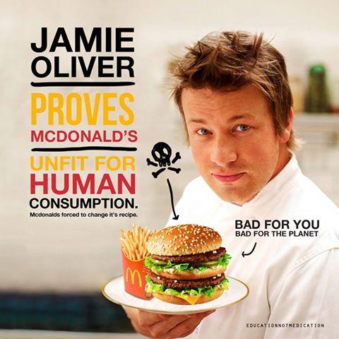 Jamie Oliver: 'Hamburgers van McDonald's zijn geschikt voor honden, niet voor de mens.'