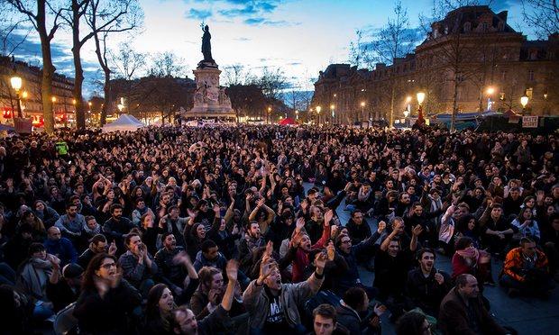 Een van de Nuit Debout demonstraties in Frankrijk