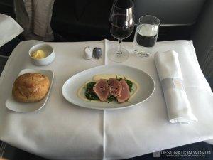 Vorspeise des Mittagessen in der Lufthansa Business Class