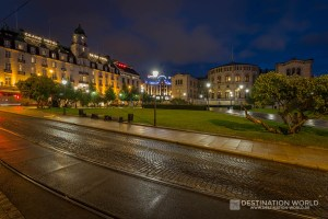 Parlament und Grand Hotel in der Innenstadt von Oslo