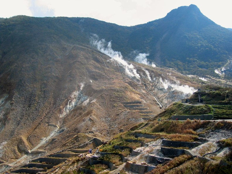 Sulphurous fumes in the active volcanic zone at Owakudani.