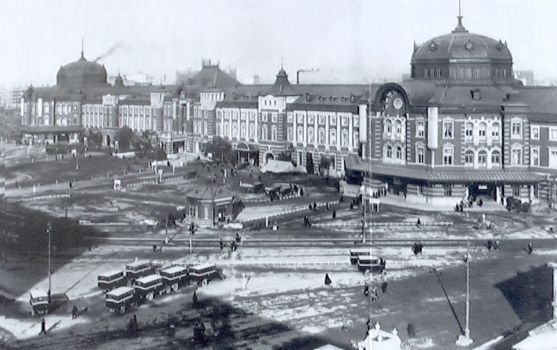 Tokyo station in 1914 . Source Wikimedia files -public domain photo