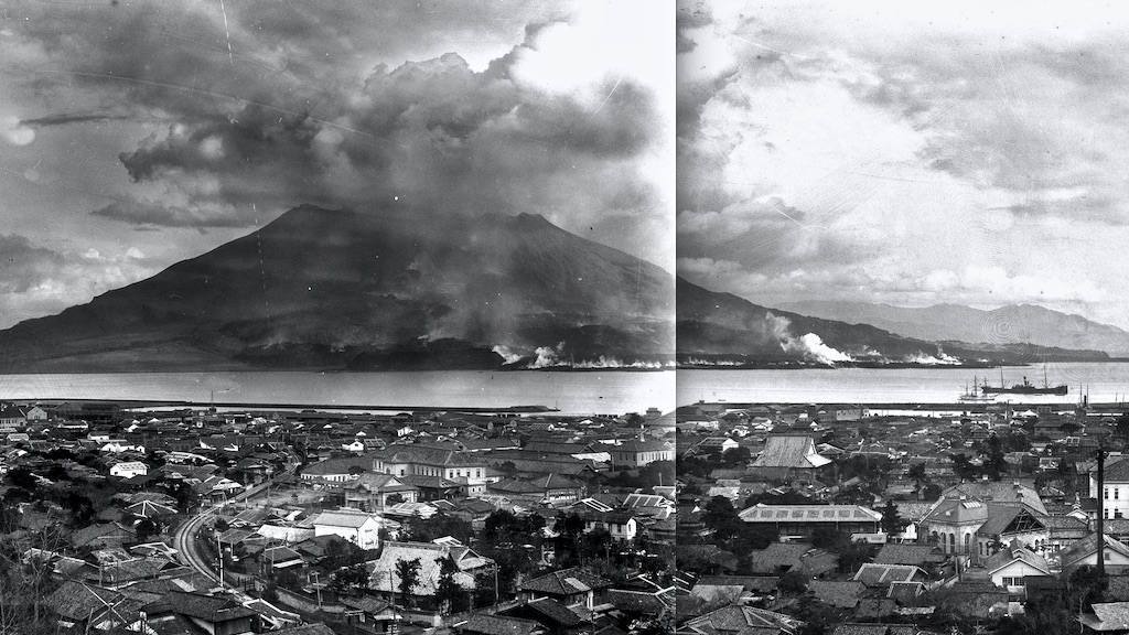 Panorama of Sakurajima during the Taisho eruption of 1914.