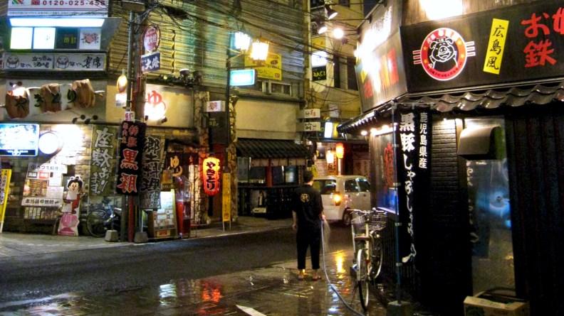 Kagoshima city-center at night.