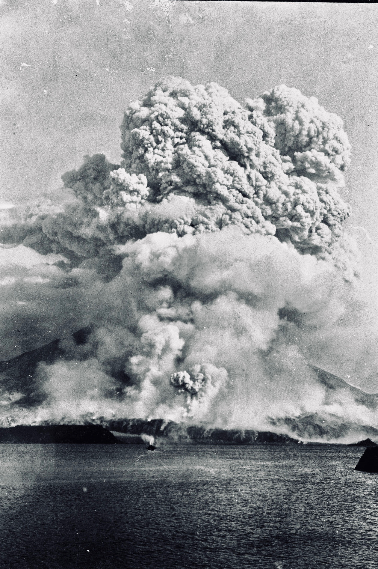 Sakurajima spewing ash 5 km high during the Taisho eruption of 1914