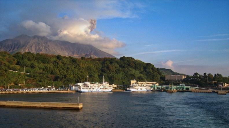 Sakurajima-port at sunset